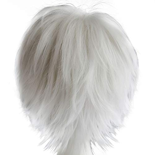 Alacos Women Men Short Fluffy Straight Hair Wigs, Silver White, Size One Size