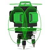 Kreuzlinienlaser Grün 25M, Kraumi 4 X 360° Professionel Grüner Laserpegel Selbstausgleichende, 4D 16Linien Kreuzlinien-Laser mit Halterung und Fernbedienung, 360° Drehbar, Selbstnivellierend