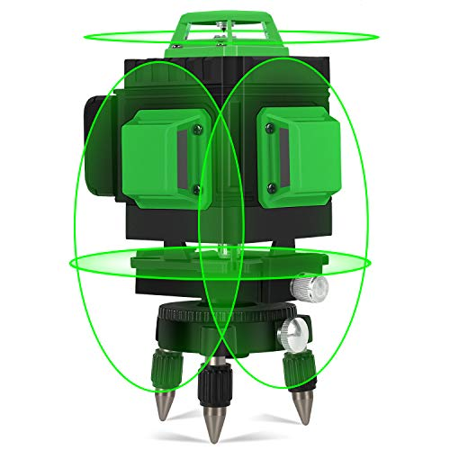 Nivel láser Autonivelación, Kraumi 4 X 360°Línea Laser 30M líneas cruzadas horizontales y verticales Línea de rayo láser verde IP54, Múltiples soportes, 360° Giratorio, Maleta profesional