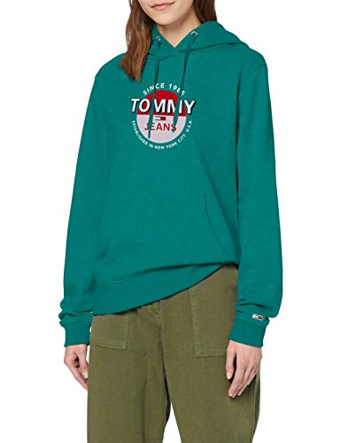 Tommy Jeans TJW Essential Logo Hoodie Suter, Verde (Midwest Green), L para Mujer