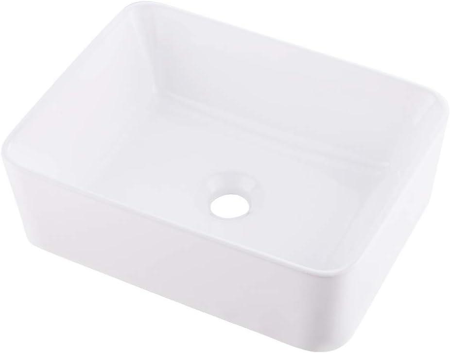 VASOYO 16x12 Bathroom Sink Above Counter White Vessel Sink Rectangle Ceramic Bathroom Vessel Vanity Sink Art Basin