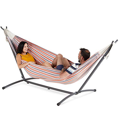 VonHaus 2 Person Hammock With Frame – 100% Cotton Fabric In Orange Stripe Stripe Standing Double Swinging Hammock with Sturdy Steel Frame for Outdoor, Garden and Patio