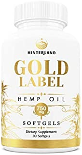 Hinterland Gold Label Hemp Oil Softgels, 25mg Capsules for Pain Relief, Anti-Anxiety, Less Stress, Better Sleep, Organic U...
