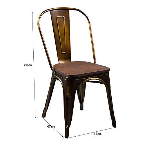 MJY Silla cómoda Silla de comedor antigua vintage Silla de madera de metal de hierro de Europa Silla de madera