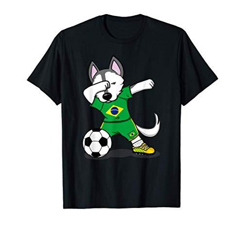 Dabbing Husky Dog Brasil Fútbol - Bandera brasileña Camiseta