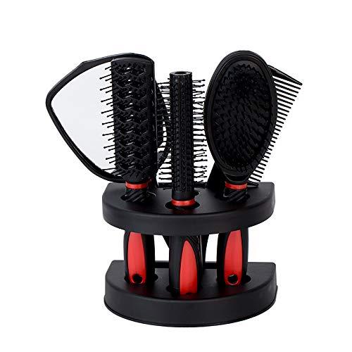 Ensemble De Peigne À Miroir Ensemble De Peigne À Cheveux En Plastique Anti-Statique Pour Ménage 15.5 * 11 * 23Cm Rouge