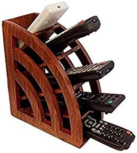 The Bells Wooden Design 5 Compartments Remote Stand Mobile Holder For Office Desk Table Accessories All In One