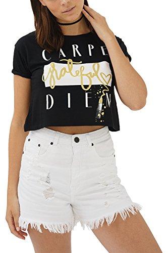 trueprodigy Casual Mujer Marca Camiseta Estampado Ropa Retro Vintage Rock Vestir Moda Cuello Redondo Manga Corta Slim Fit Designer Cool Urban Fashion T-Shirt Color Negro 1082529-2999-S