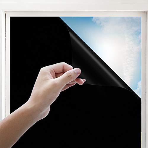 Rhodesy Película para Ventanas Opaco Negro Total, Bloqueador de Control de Calor Anti UV, Cuarto de Oscurecimiento Intimo Extraíble 100{b2ea8de2a5d6f74874bb4ca75d08135ccb5acd4036f7aa84f3b5d85fa0500496} Luz para el Hogar, Negro, 90 x 200 cm