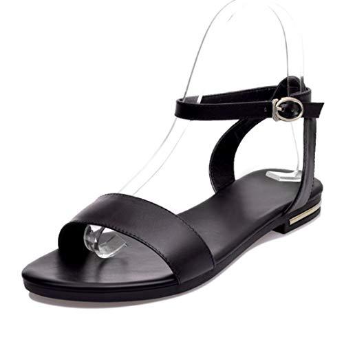 Sandalias de Cuero para Mujer Moda de Verano Talla Grande Correa de Tobillo Color sólido Oficina Zapatos de Carrera Estilo básico Femenino Sandalias de Ocio
