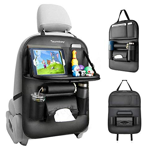 Tsumbay Car Backseat Organizer with Tablet Holder, 8 Storage Pockets PU Leather Seat Back Protectors Kick Mats for Kids Car Snack Organizer with Foldable Table Tray, Tissue Box( Black 1 Pcs)