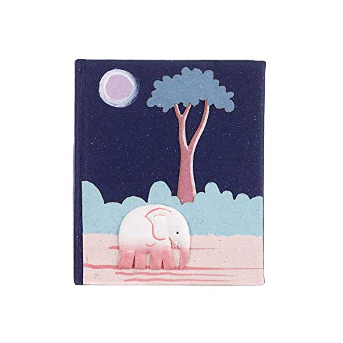 Cuaderno hecho a mano con diseño de elefante, color azul, sin forro, papel reciclado, 10,5 cm x 9 cm, auténtica caca de elefante, comercio justo y sostenible, alternativa de diario para hombres y mujeres
