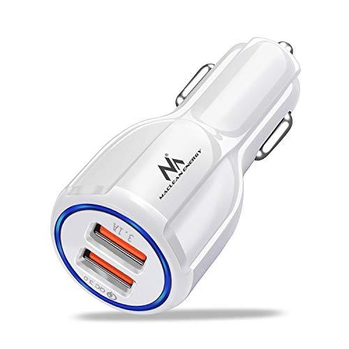 Maclean MCE478 2-Fach KFZ USB Ladegerät 12-24V Zigarettenanzünder Quick Charge 3.0 Schnellladung KFZ 1xQC3.0 5V/3A, 9V/1.8A, 12V/1.6A 1x 5V/3.1A Auto-Handyladegerät Autoladegerät (Weiß)
