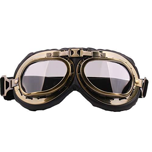 Riloer - Occhiali da motocicletta, in stile retrò, antivento, antipolvere e resistente ai raggi UV, adatti per moto Harley, trasparenti