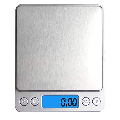 tubc Digitalwaage Tragbare elektronische Waage Praktisch geführte Digitale Küchenwaage Multifunktionaler Schmuck Lebensmittel Diätwaage Gewichtsausgleichstool 3Kgx0.1G