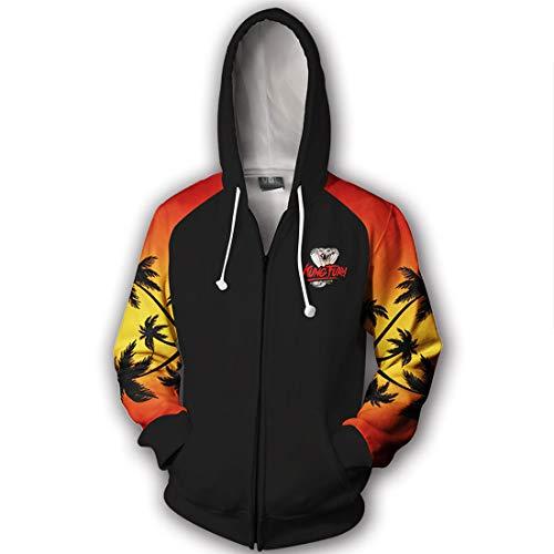 YXB Sudadera Deportiva En Tiempo Real para Hombre Kung Fu Kid Cobra Hoodie Chaqueta De Invierno Chaqueta Adecuada para El Juego En El Campus(Color:Cremallera Cobra Negra,Size:Metro)