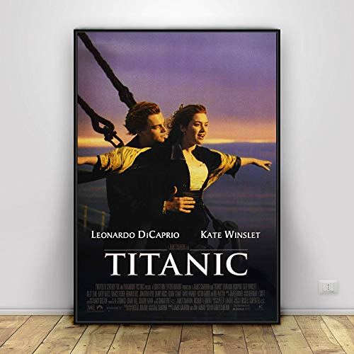 SDFSD Titanic Hollywood Classic Romantische Liebe Filmplakat und Druck Wandkunst Malerei Wohnkultur 60X90CM