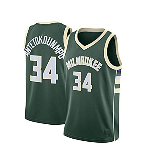 Camiseta de Baloncesto Juvenil Bucks #34 Giannis Antetokounmpo Camiseta de Baloncesto para Hombre Swingman Camiseta de Baloncesto Blanco, Jugador de baloncesto, regalo para jóvenes(Size:XXL,Color:A1)
