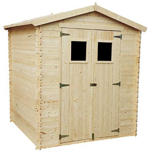 TIMBELA Holzhaus Gartenhaus M343+M343G - Gartenschuppen Holz mit Boden Imprägnierte B216xL206xH218 cm/ 3.53 m2 Lagerschuppen für Garten - Fahrrad Schuppen - Wasserfestes Dach