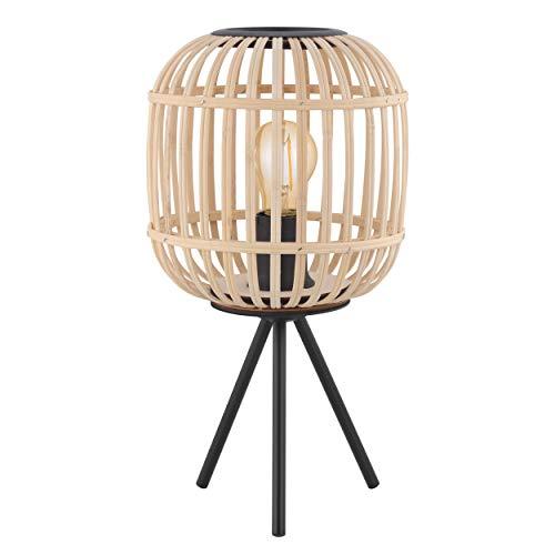EGLO Tischlampe Bordesley, 1 flammige Tischleuchte Vintage, Natur, Boho, Hygge, Nachttischlampe aus Stahl in schwarz und Holz in Naturfarben, Wohnzimmerlampe, Lampe mit Schalter, E27 Fassung