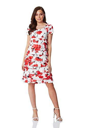 Roman Originals Vestido de mujer con volantes florales – Vestido de verano para mujer, casual, vestido de verano, elástico, cuello redondo, manga corta, longitud hasta la rodilla, vestido de cambio