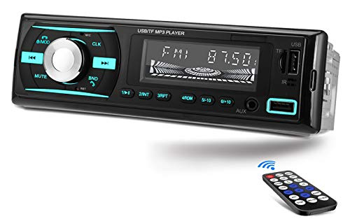 Single Din Car Stereo Bluetooth, Dual USB 7 Color Car Radio Receiver, MP3 Player/FM/WMA/TF/AUX-in, Hands-Free Calling