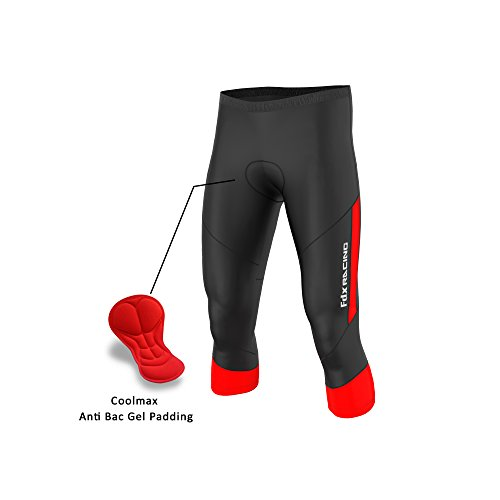FDX - Pantaloni da ciclismo da uomo, di qualità, 3/4, con imbottitura in gel anti bac, colore: nero/rosso, taglia XL