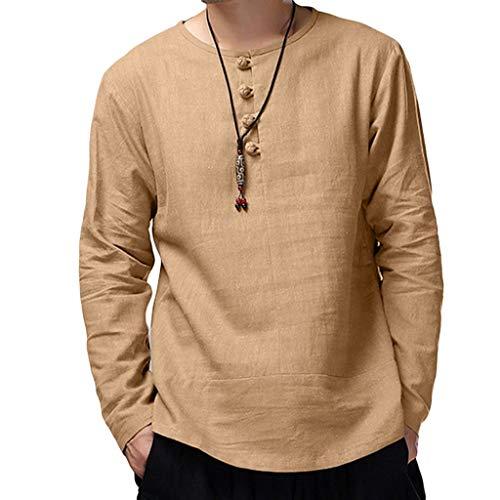 UFACE Baumwolle Leinen Herren T-Shirt Hemd, Casual V-Ausschnitt Langarmshirt Tops Yoga Strand Bluse Einfarbig Lose Hemden Lässig Hemden...