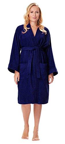 Albornoz Kimono para Mujer, Azul Marino, S/M