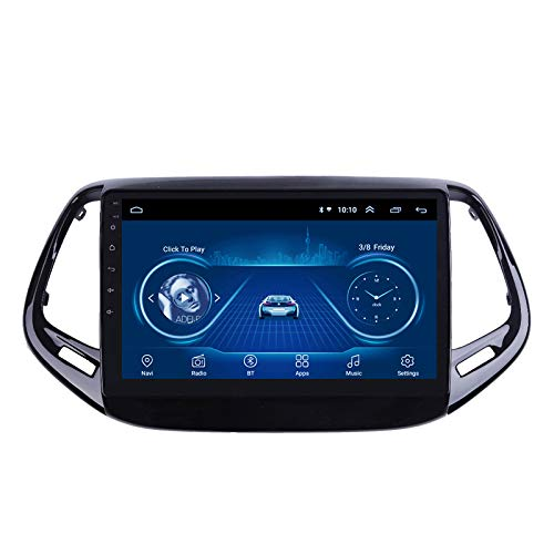 Android 9 Navegación GPS para automóvil Radio Multimedia estéreo para Jeep Compass 2017 2018 con Bluetooth/FM/USB, Compatible con conexión WiFi para Mirror Link Android e iOS