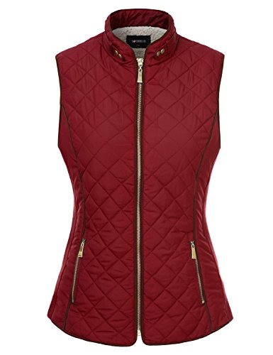 Doublju Quilted Padding Zip-Up Vest with Pockets (Plus RED Medium