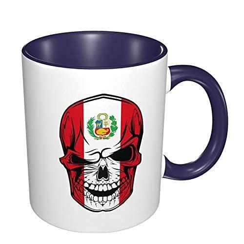 N\A Taza de café de Porcelana con Bandera de Perú, Tazas Coloridas con Mango de cerámica para Capuchino, té, Cacao y Cereales, Azul Marino