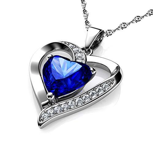 DEPHINI - collana con cuore blu - forma di doppio cuore ciondolo - con zirconia cubica - collana argento donna 925 - idea regalo per donne e ragazze