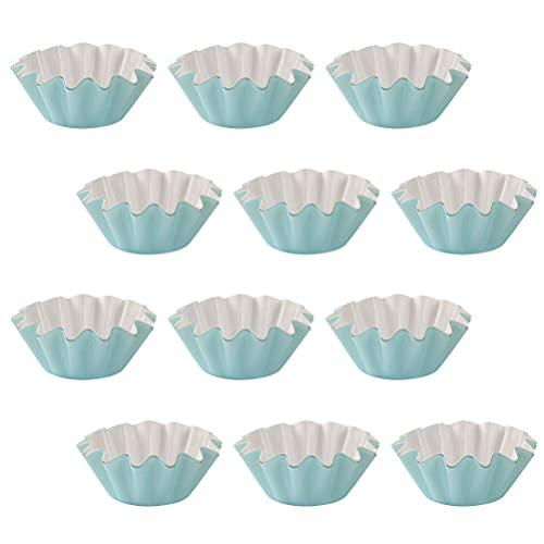 BESTonZON 50 Piezas de Papel para Magdalenas Tazas para Hornear Magdalenas Forros para Boda Cumpleaños Fiesta de Bienvenida de Bebé Suministros Azul