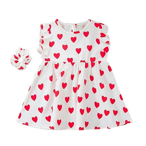 JERFER Baby Kinder Mädchen Ärmellos Rüsche Herz Gedruckt Kleid + Stirnband Kleider Einstellen
