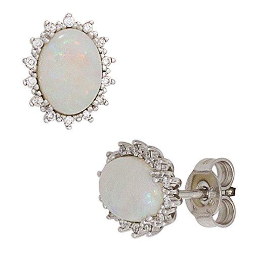 JOBO Ohrstecker 585 Gold Weißgold 2 Opale 28 Diamanten Brillanten Ohrringe