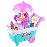 EisEyen Carrito de la compra con luces para niños, carrito de helado, juguete para postres, dulces, con accesorios