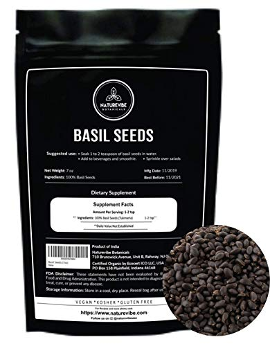 Naturevibe Botanicals Basil Seeds, 7oz | Sabja Seeds/Tukmaria Seeds | Non-GMO, Raw and Gluten Free | Add to Beverages and Desserts