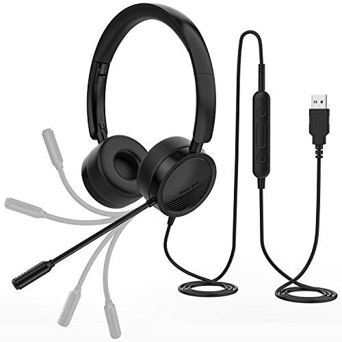New bee PC Headset mit Mikrofon USB/3,5mm Business Headset Noise Cancelling & Klare Stereo-Sound für Call Center Office Telefonkonferenzen Skype-Chat Webinar-Präsentationen Online-Kurse und Musik
