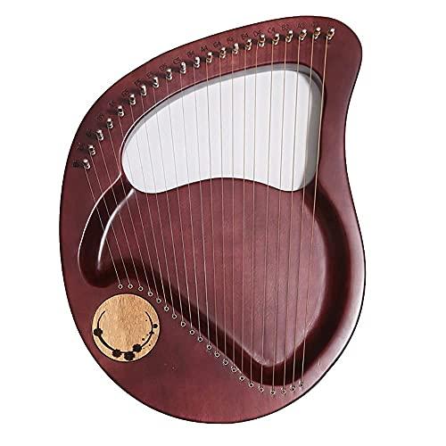 21 strängar Lyre Harp, mahogny massivt trä stränginstrument, med stämningsnyckel, reservsträng, engelsk instruktionsmanual, för vuxna barn nybörjarälskare (färg: Röd)
