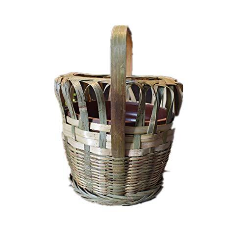 JUNCH Tragbare Feuerschalen für Zuhause, Bambus, handgefertigt, Holzkohle-Feuerstelle, chinesische altmodische traditionelle Handheizung für den Innenbereich