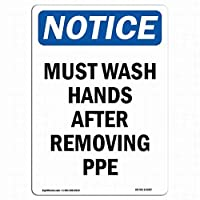 ヴィンテージルックレプリカメタルサインインチ、PPEを取り外した後は手を洗う必要があります、パークサインパークガイドABC警告サイン私有財産の金属屋外危険サイン
