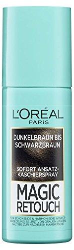 L'Oréal Paris Ansatz-Kaschierspray ohne Ammoniak, Auswaschbare Haarfarbe, Magic Retouch Ansatzspray, Dunkelbraun bis Schwarzbraun, 1 x 75 ml