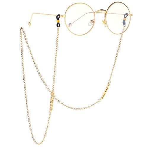 PQXOER-AC Cadena de Gafas Vasos Cadena Antideslizante Vasos de Metal Cadena de Oro de la Letra I Love You Colgante Gafas de Sol Accesorios Cadenas (Color : Gold)