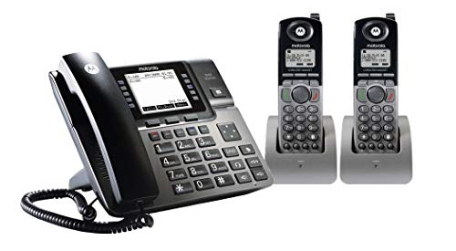 Motorola ML1002H DECT 6.0 Expandable 4-line Business Phone System with Voicemail, Digital Receptionist and Music on Hold, Black, 2 Handsets