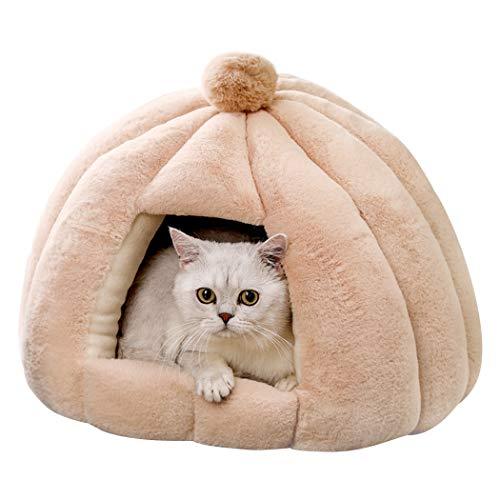 Bingopaw Cama Cueva para Gatos, Caseta Suave y Cómoda para Mascotas Pequeñas, Cama Nido con Cojín Extraíble y Lavable para Perros Gatos, 51 x 51 x 38cm (Beige)