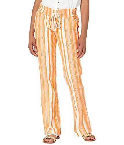 Roxy Women's Oceanside Yarn Dye Pant, Golden Ochre James Stripe 212, XL