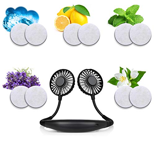 O.T Solvers 10 Aromatherapy Refill Pads for Hands Free Portable Hanging Neck Fan – Fit All Neckband Fans – Get Health Benefits While Cooling Off – 5 Pleasing Scents – ocean, lemon, mint, lavender and gardenia