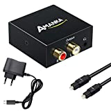 Convertidor Digital a Analògic, *AMANKA *DAC Àudio Òptic Coaxial(*RCA) *Toslink *SPDIF a Àudio Estèreo R/L + Jack 3.*5mm amb Cable Òptic