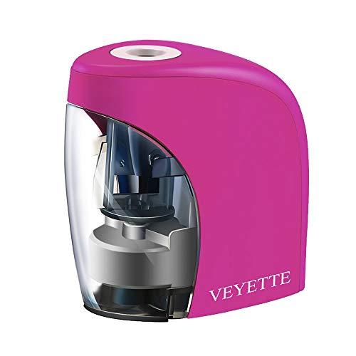 Battery Operated Electronic Pencil Sharperner, VEYETTE Hot Pink Portable Pencil Sharpener Plug or...